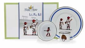 golden rabbit baseball boys dish set