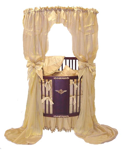 Golden Wreath Canopy Round Crib By All Things Creative