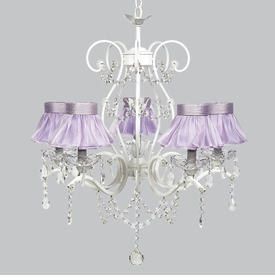 grace chandelier - lavender sheer ruffled shades