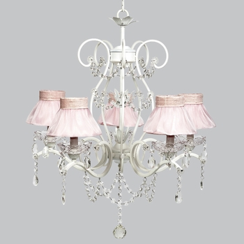 grace chandelier - pink sheer ruffled shades