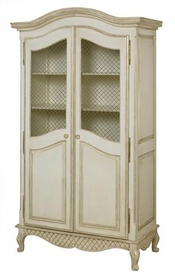 grand armoire wire mesh doors (versailles linen)