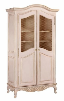 grand armoire with wire mesh doors
