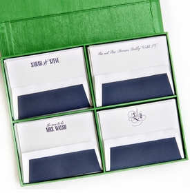 grand green silk stationery box - g4