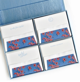 grand light blue silk stationery box - g7