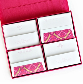 grand magenta silk stationery box - g12