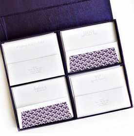 grand purple silk stationery box - g14