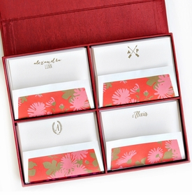 grand red silk stationery box - g15