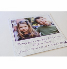 gray snow square holiday card