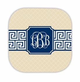 greek key band navy hardback rounded coaster<br>(set of 4)