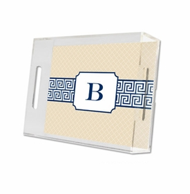 greek key band navy lucite tray - small