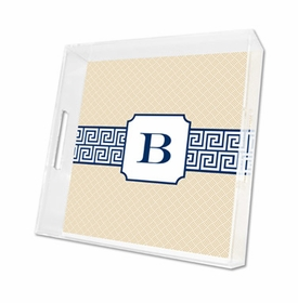 greek key band navy lucite tray - square