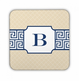 Greek Key Band Navy Square Coaster