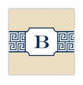 greek key band navy square paper coaster<br>set of 50