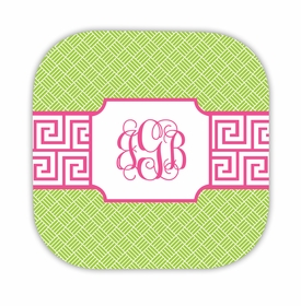 greek key band pink hardback rounded coaster<br>(set of 4)