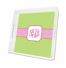 greek key band pink lucite tray - square