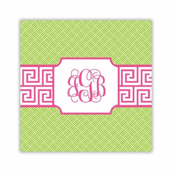 greek key band pink square paper coaster<br>set of 50