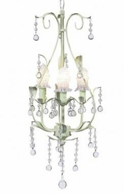green 3 arm pear chandelier-clear bulb covers