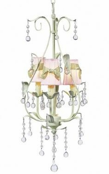 green 3 arm pear chandelier-pink sconce shades
