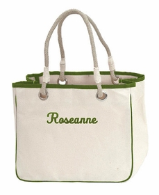 green accented rope tote