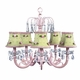 green check pink rosebud chandelier shade