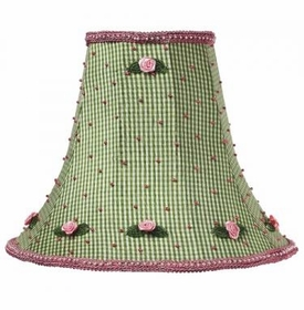 green check pink rosebud lamp shade