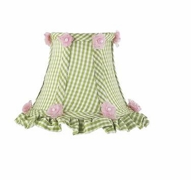 green check ruffled edge chandelier shade