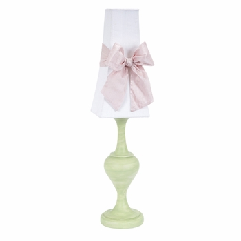 green curvature lamp with white tower shade & pink bow