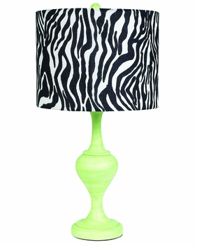 green curvature lamp with zebra drum shade