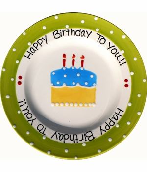 green dot birthday plate