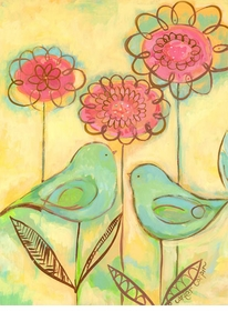 green love birds wall art