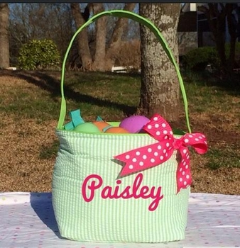 green seersucker stripe easter bucket