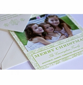 green snow holiday card