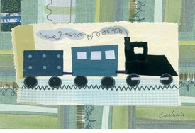 green train wall art by maria carluccio