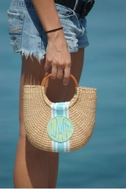 half moon monogrammed cocktail bag