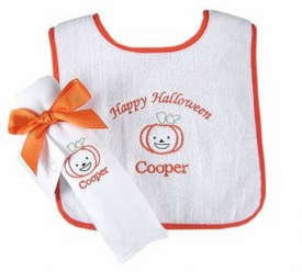 halloween gift set - pumpkin burp and bib set