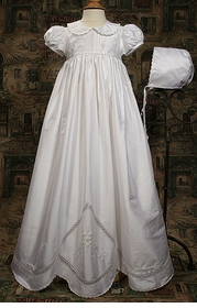 hand embroidered silk christening gown