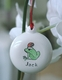 hand painted ceramic santa frog christmas ornament