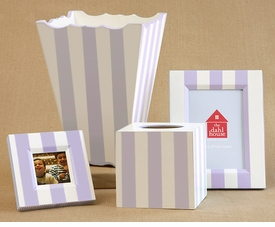 hand painted frame, tissue box & waste basket set-nantucket stripe