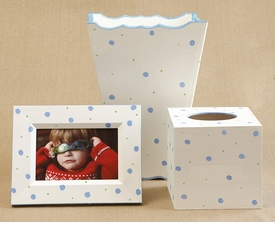 hand painted frame, waste basket, tissue box set-retro dot<br>no longer available