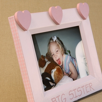 hand painted hearts picture frame - big sister