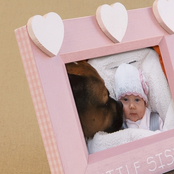 hand painted hearts picture frame - little sister hearts