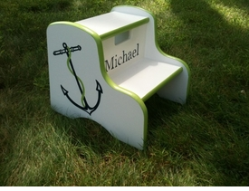 hand painted kids step stool - anchor