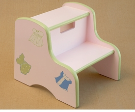 hand painted kids step stool - dresses