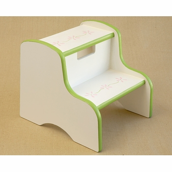 hand painted kids step stool - flower border