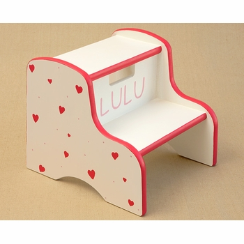 hand painted kids step stool - hearts