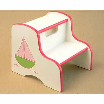 hand painted kids step stool - sailboat (pink)