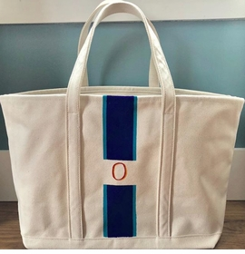 hand painted monogrammed tote