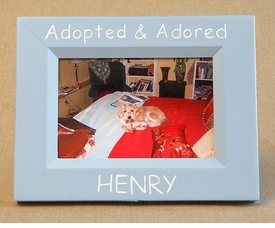 hand painted picture frame - adopted and adored
