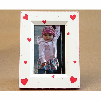 hand painted picture frame - hearts
