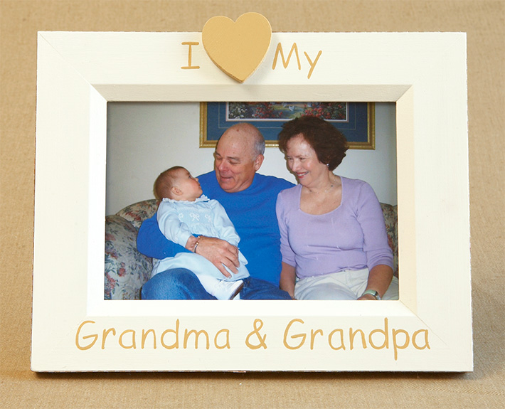 Hand Painted Picture Frame I Heart Grandma Grandpa